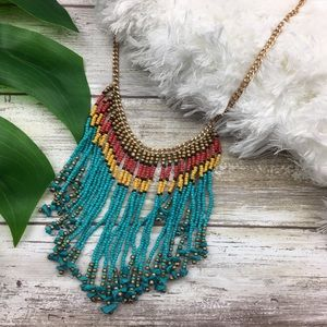 Jewelry - Colorful Fringe Beaded Boho Gold Chain Necklace